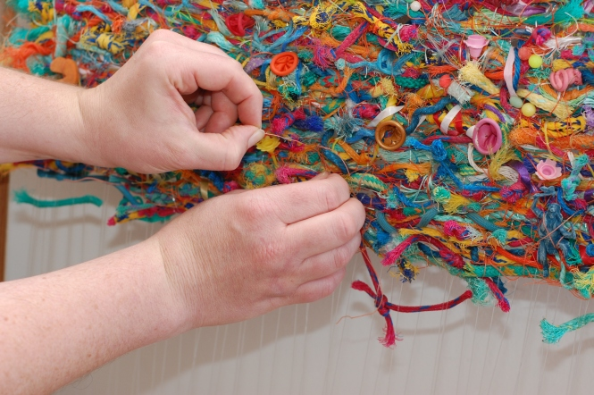 Jo Atherton weaves with flotsam to create unique tapestries