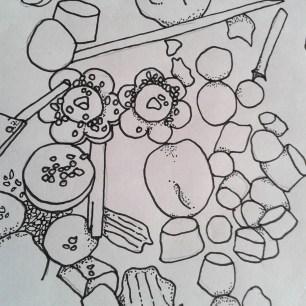 Flotsam field sketch - nurdles and flowers